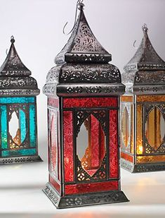 fdf4e2781ae Large Indian Glass Lantern. Purple Mill. Large Moroccan Style Lantern Tea  light Candle Holder ...