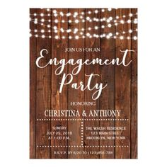 Rustic String Lights Engagement Invitation - string lights gifts ideas cyo personalize