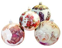 KSA 12 Pretty In Pink Decoupage Rose Ball and Heart Christmas ...