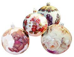 decoupage Christmas ornaments