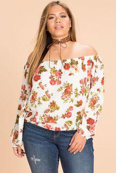 Slit Sleeve Floral Off Shoulder TopSlit Sleeve Floral Off Shoulder Top