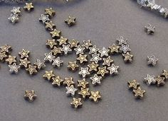 Destash lot of Tiny Star Beads 4mm Silver and Gold Christmas Star Beads Star Charm Beads Supplies Jewelry Making Supply Charms Spacer Beads by Magicclosetbling on Etsy