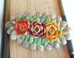 Vintage Seashell Brooch Flowers Pink Lavender Mint 40's (item 33)