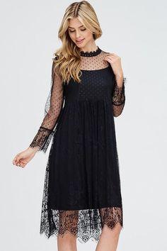 Leila Lace Mock Neck Sheer Dress