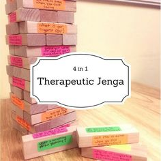4 Games in The Power of Jenga! I have gone through the depths of the Interwebs searching for play therapy techniques and interventions that stand the test of time, and this one keeps on showing up! I have seen many variations of… Group Therapy Activities, Therapy Games, Activities For Teens, Counseling Activities, Therapy Ideas, Social Work Activities, Speech Therapy, Therapy Tools, Anger Management Activities For Kids