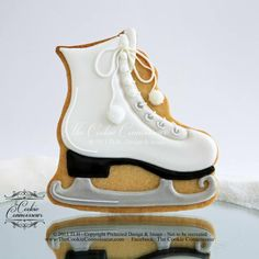 Ice Skate Cookie~ By The Cookie Connoisseur, white Fancy Cookies, Iced Cookies, Cut Out Cookies, Cute Cookies, Royal Icing Cookies, Cupcakes, Cupcake Cookies, Ice Skating Cake, Teenager Party