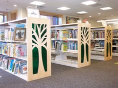Creative design end panels for book and magazine storage. Choose any design for the children's area of your library.