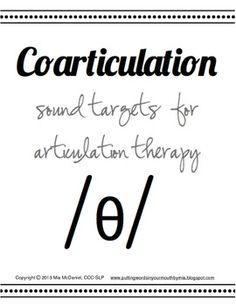 /θ/ Sound Targets for Articulation Therapy {featuring coar