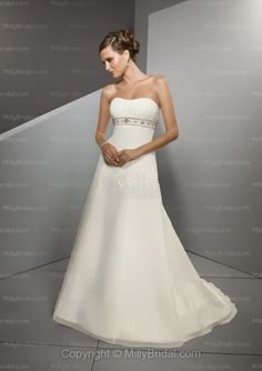 Empire Sweetheart Beading Taffeta Sweep Train Wedding Dress at Millybridal.com