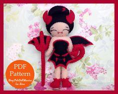 The little devil. Felt doll. Felt Pattern. Doll pattern. Halloween Doll pattern. Halloween Decoration.