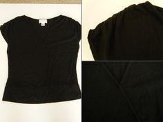 "Ann Taylor LOFT Petites Size: SP (Small) black short ruched sleeve, v-neck top $13 - Find it by going to www.LoyalRoyaltyPro.com, click on the ""Miss Anthropy's Boutique"" link on the left sidebar and click on one of the hyperlinks that say ""Miss Anthropy's Boutique"" to be taken to all of my eBay auctions including the one below! Don't forget to check out the other content on www.LoyalRoyaltyPro.com as well!"