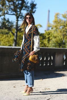 """The Best """"What IS She Wearing?"""" Looks From Paris #refinery29  http://www.refinery29.com/2015/10/95202/paris-fashion-week-spring-2016-street-style-pictures#slide-35  Tweed gets a modern twist...."""