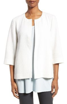 Eileen Fisher Eileen Fisher Organic Cotton Blend Round Neck Jacket (Regular & Petite) available at #Nordstrom