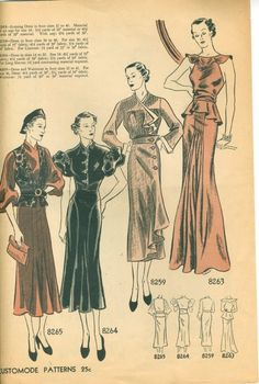 Rare Vintage Simplicity Pattern Advertisement November 1935 featuring Customode patterns 8265, 8264, 8259 and 8253