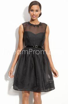 Faddish Ribbons Empire Waist Short/Mini-length Round Neckline Bridesmaid Dress
