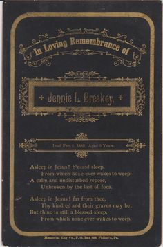 Antique Memorial Card for 9 Year Old Jenny by FunerealEphemera