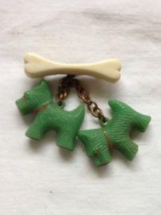 Vintage Plastic Celluloid Brooch Pin 2 Scottie Dogs w Bone