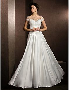 A-line Jewel Floor-length Satin Chiffon Wedding Dress