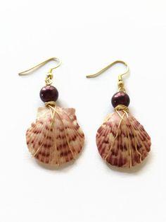 Florida Calico Shell Dangle Earrings Shell Drop Earrings Calico Shell Dangle Earrings Beach Wedding Earrings (E118) by JulemiJewelry on Etsy