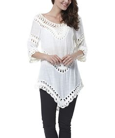 Look at this Simply Couture White Crochet Panel Tunic - Women on #zulily today!