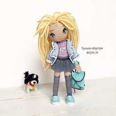 Знакомьтесь, Вика И ее замечательная собачка  Ростом 16 см Не продается  #olyaka_lab #кукольнаялабораторияоля_ка ________________________________ #handmadedoll #crochetdoll #dollmaker #villy_vanilly_shop #toys_gallery #weamiguru #авторскаякукла#интерьернаякукла#artdoll#кукларучнойработы #кукланазаказ #амигуруми#вязаныекуклы #куклакрючком