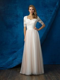 Allure Modest M561 Soft Tulle A-Line with Lace Bodice Wedding Dress – Off White