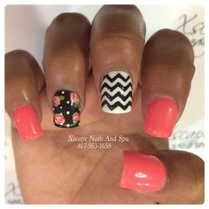 pretty nails for summer Super Cute Nails, Great Nails, Nail Spa, Manicure And Pedicure, Pedicures, Pretty Nails For Summer, Solar Nails, Chevron Nails, Thing 1