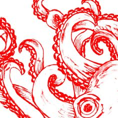 Octopus - Red and White Stretched Canvas