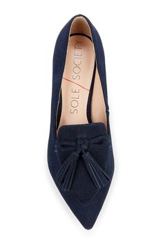 Blue suede tassel loafers | Sole Society Hadlee