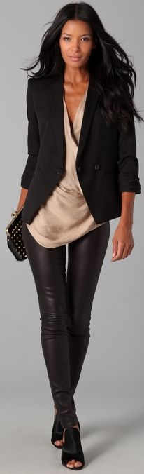 Love all of it :: leather leggings fall work outfits