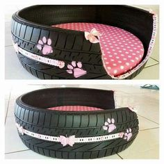 DIY tire converted into an adorable dog bed