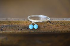 Vintage Dainty Stackable Turquoise Charm Dangle Ring, US Size 10.0, Used by OurStoneCollection on Etsy https://www.etsy.com/listing/470952310/vintage-dainty-stackable-turquoise-charm