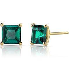 14K 14ct Yellow Gold 1.6 Ct Lab Emerald Stud Earrings Princess Cut 6 x 6 mm