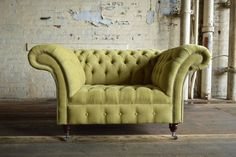 MODERN HANDMADE CHESTERFIELD SNUGGLE LOVE SEAT CHAIR LIME GREEN VELVET LARGE