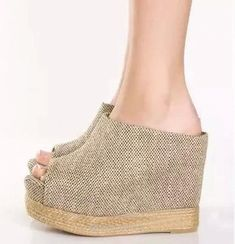 926c8ef1c8b Chic Summer Beige Color Straw Woven Wedge Sandal Colors  beige Materials   synthetic leather composite sole Heel  approx Platform  approx Available  size  ...