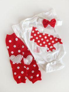 I Love Cardinals Onesie Heart Baby Leg Warmers + Bow by kakabaka, $32.00