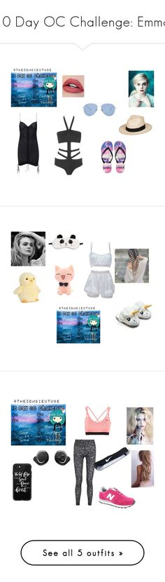 """""""10 Day OC Challenge: Emma"""" by roleplayqueen-325 ❤ liked on Polyvore featuring Hervé Léger, Agent Provocateur, Aéropostale, Roxy, Kaleos, P.J. Salvage, Roses Are Red, NIKE, New Balance and Bragi"""