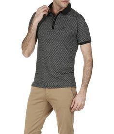 6146e66936f7 E-shop Polo Slim-fit Jacquard Coton Noir One Step pour homme sur Place des tendances  Groupe Printemps. Retrouvez toute la collection One Step pour homme.