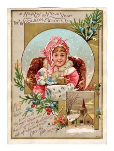 WOOLSON SPICE CO. NEW YEAR Trade Card CUTE CHILD w/ DOLL in WINTER HOLLY JUNIPER