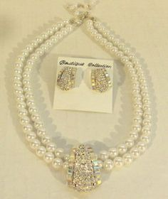 Diva Bridal AB, Clear Crystal Faux Pearl Necklace and Earrings