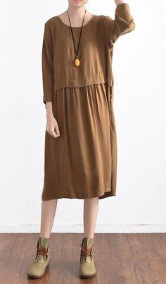 Khaki long sleeve summer dress casual plus size silk maxi dresses long  sleeve sundress c1002e5d1