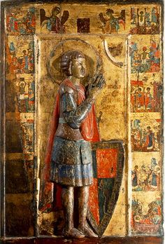 Dimensions (cm): 107 x 72 Provenance: Kastoria Double-sided icon with Saint George (front) and Saints Μarina and Irene (? It combines elements of Byzantine and Western style. St Georges Day, Saint Georges, Byzantine Icons, Byzantine Art, Religious Icons, Religious Art, St George Flag, Saint George And The Dragon, Russian Icons