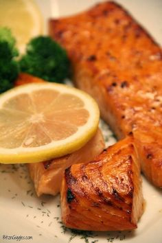 Brown Sugar Salmon - This is my absolute favorite way to prepare salmon. The fish is marinated and then placed in a 450 degree oven for 15 minutes and then broiled for 5. {BitznGiggles.com}