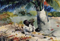 Sous le cocotier, 1898 de Winslow Homer (1836-1910, United States)