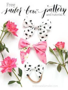 DIY Sailor Bow tutorial and free pattern style girls hair bow dalmation bow hair bow tutorial template free download | at nataliemalan.com