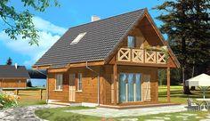 Projekt domu z poddaszem Sosenka drewniana o pow. 51,25 m2 z dachem dwuspadowym, z tarasem, z wejściem od południa, sprawdź! Cabin Homes, Cabins In The Woods, Exterior Design, Modern Architecture, Building A House, Gazebo, House Plans, New Homes, Cottage