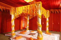 From the moment I laid eyes on this marigold mandap, I knew that we HAD to feature this wedding. Desi Wedding Decor, Wedding Hall Decorations, Marriage Decoration, Wedding Mandap, Engagement Decorations, Wedding Ideas, Wedding Receptions, Wedding Vows, Trendy Wedding