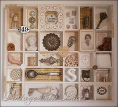Printer's tray filled with vintage treasures - Studio Tour 2012 - Vintage with Laces