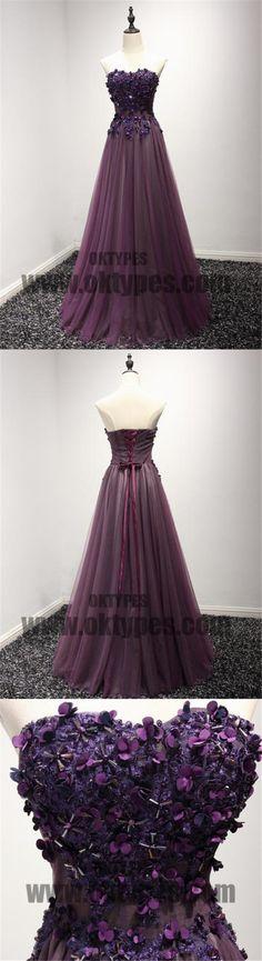 A-line Prom Dresses, Long Princess Dresses, Appliques Prom Dresses, Beading Prom Dresses, Sweetheart Prom Dresses, Lace Up Prom Dresses, TYP0070 #promdresses