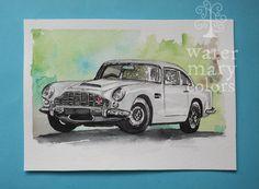 Mesero para boda en Acuarela sobre papel del modelo Aston Martin DB5  http://marijoepintora.blogspot.com.es/